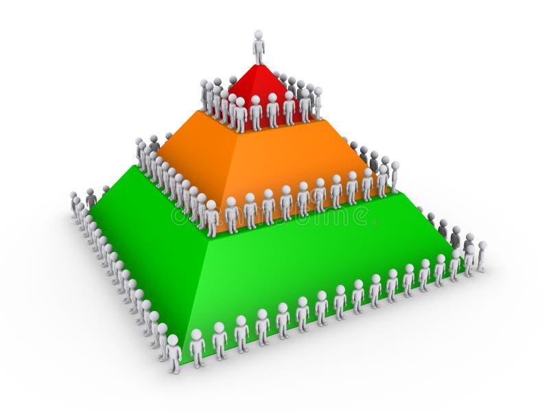 Het concept van de leiding met piramide en vele mensen royalty-vrije illustratie