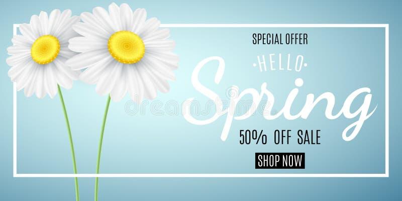 Het concept van de de lenteverkoop Speciale aanbieding De reclame van Webbanner voor verkoop Kamille op een blauwe achtergrond Se royalty-vrije illustratie