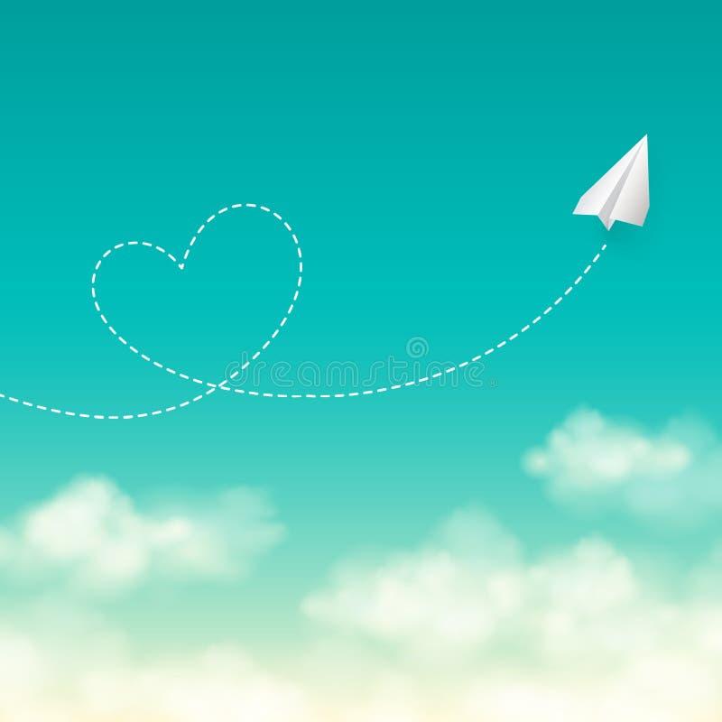 Het concept van de liefdereis een document vliegtuig die in vliegen stock illustratie