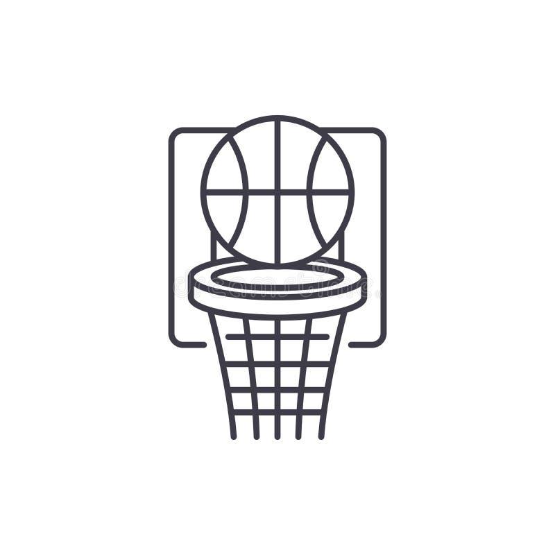 Het concept van het de lijnpictogram van het basketbalspel De vector lineaire illustratie van het basketbalspel, symbool, teken royalty-vrije illustratie