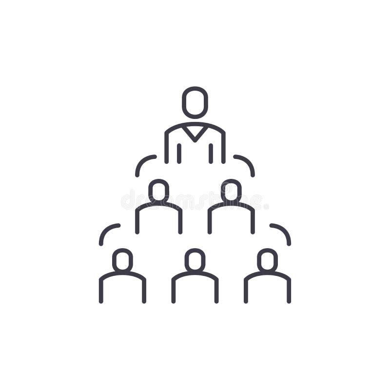 Het concept van het de lijnpictogram van de bedrijfstructuur De vector lineaire illustratie van de bedrijfstructuur, symbool, tek royalty-vrije illustratie