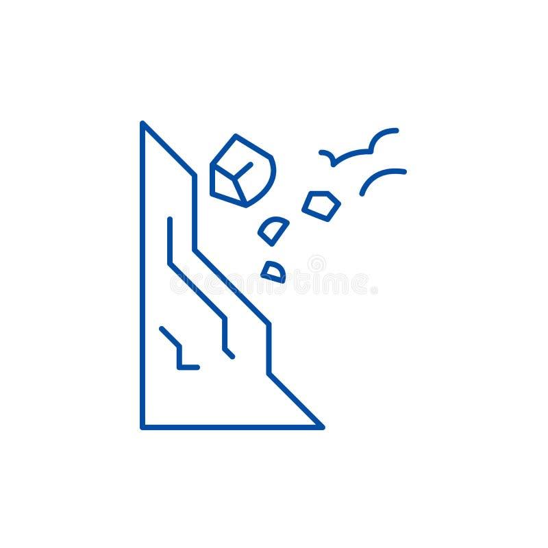 Het concept van het de lijnpictogram van dalingsstenen zorgvuldig Vlakke vectorsymbool van dalingsstenen het zorgvuldig, teken, o stock illustratie