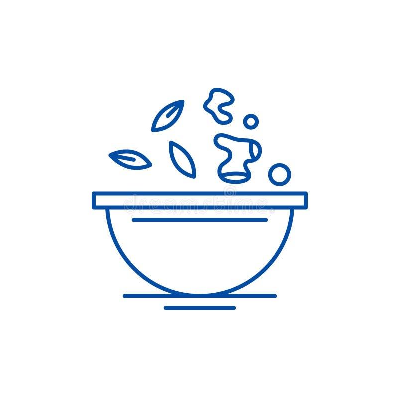Het concept van het de lijnpictogram van het dieetvoedsel Het vlakke vectorsymbool van het dieetvoedsel, teken, overzichtsillustr stock illustratie