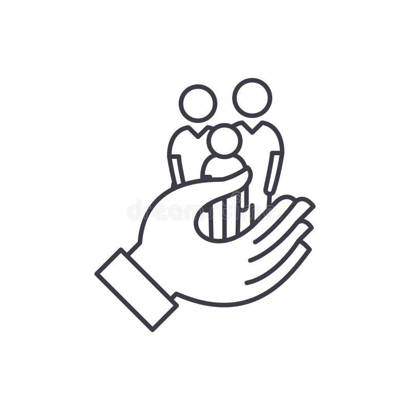 Het concept van het de lijnpictogram van de familiezorg De vector lineaire illustratie van de familiezorg, symbool, teken vector illustratie