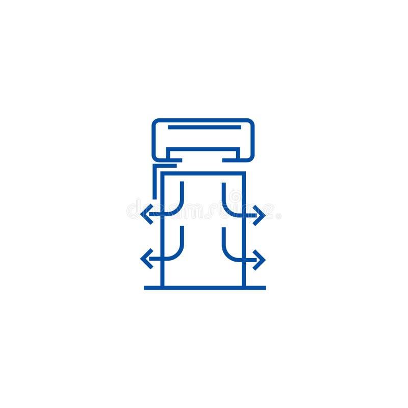 Het concept van het de lijnpictogram van hittegordijnen Het vlakke vectorsymbool van hittegordijnen, teken, overzichtsillustratie royalty-vrije illustratie