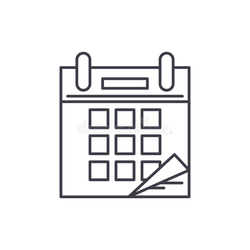 Het concept van het de lijnpictogram van de kalendertijd De vector lineaire illustratie van de kalendertijd, symbool, teken royalty-vrije illustratie