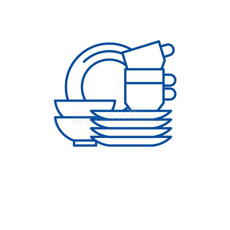 Het concept van het de lijnpictogram van keukenschotels Het vlakke vectorsymbool van keukenschotels, teken, overzichtsillustratie royalty-vrije illustratie