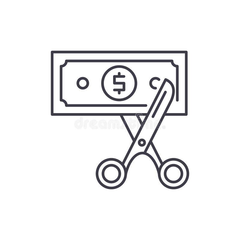 Het concept van het de lijnpictogram van de kostenoptimalisering De vector lineaire illustratie van de kostenoptimalisering, symb stock illustratie