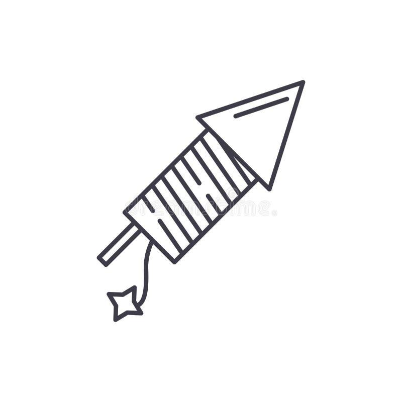 Het concept van het de lijnpictogram van het lanceringsvuurwerk Lancerende vuurwerk vector lineaire illustratie, symbool, teken royalty-vrije illustratie