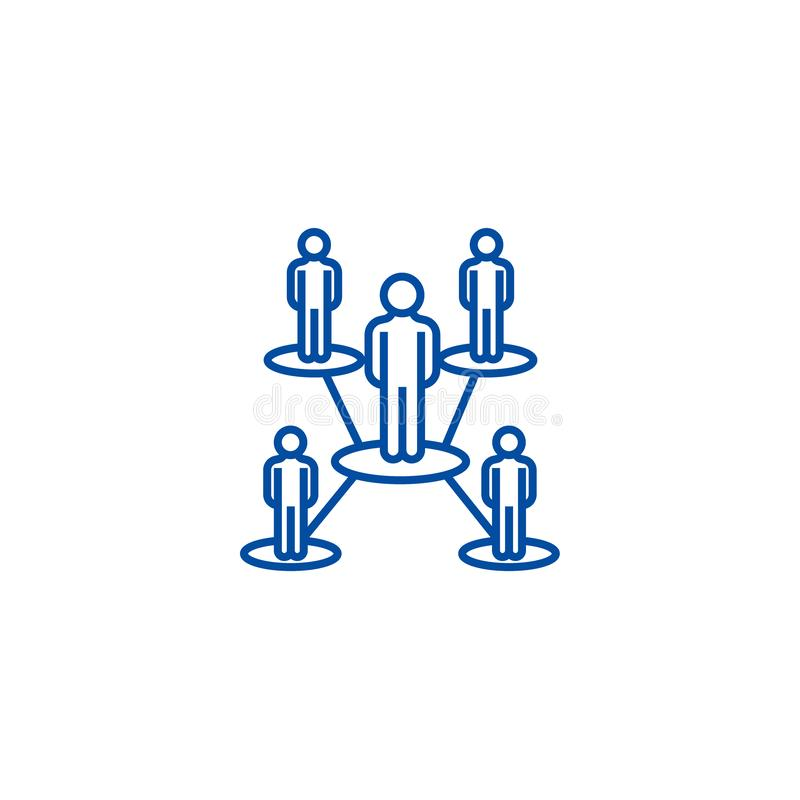 Het concept van het de lijnpictogram van het mensennetwerk Het vlakke vectorsymbool van het mensennetwerk, teken, overzichtsillus royalty-vrije illustratie