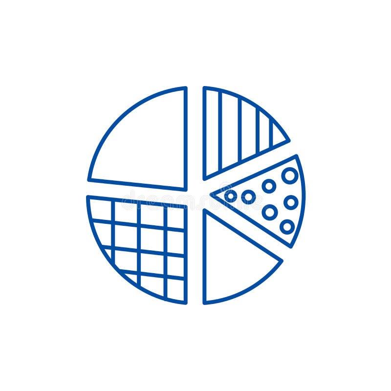 Het concept van het de lijnpictogram van het pasteidiagram Het vlakke vectorsymbool van het pasteidiagram, teken, overzichtsillus stock illustratie