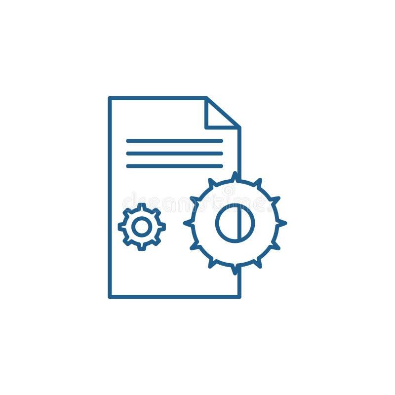 Het concept van het de lijnpictogram van de projectovereenkomst Het vlakke vectorsymbool van de projectovereenkomst, teken, overz stock illustratie