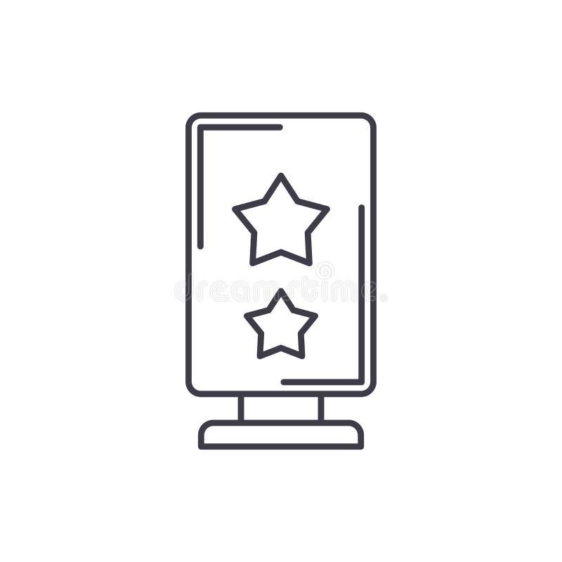 Het concept van het de lijnpictogram van de reclamebanner Adverterende banner vector lineaire illustratie, symbool, teken royalty-vrije illustratie