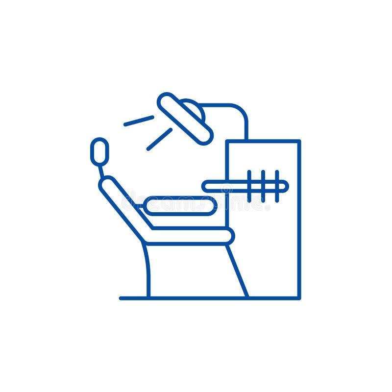 Het concept van het de lijnpictogram van het tandartsbureau Het vlakke vectorsymbool van het tandartsbureau, teken, overzichtsill vector illustratie