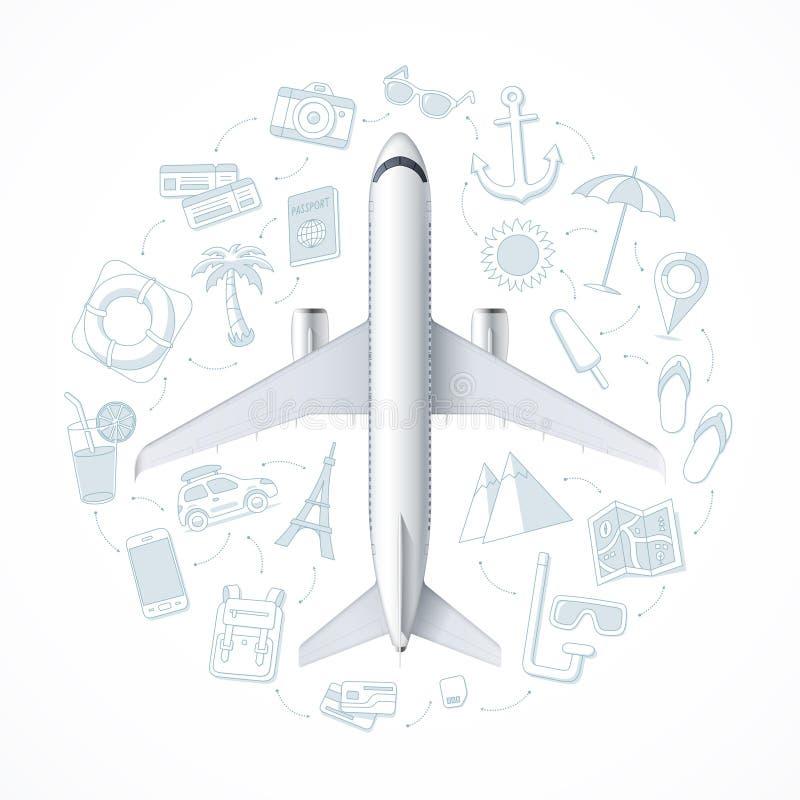 Het concept van de luchtreis met een vliegtuig en een reeks van toerisme, vakantie, reis, reispictogrammen royalty-vrije illustratie