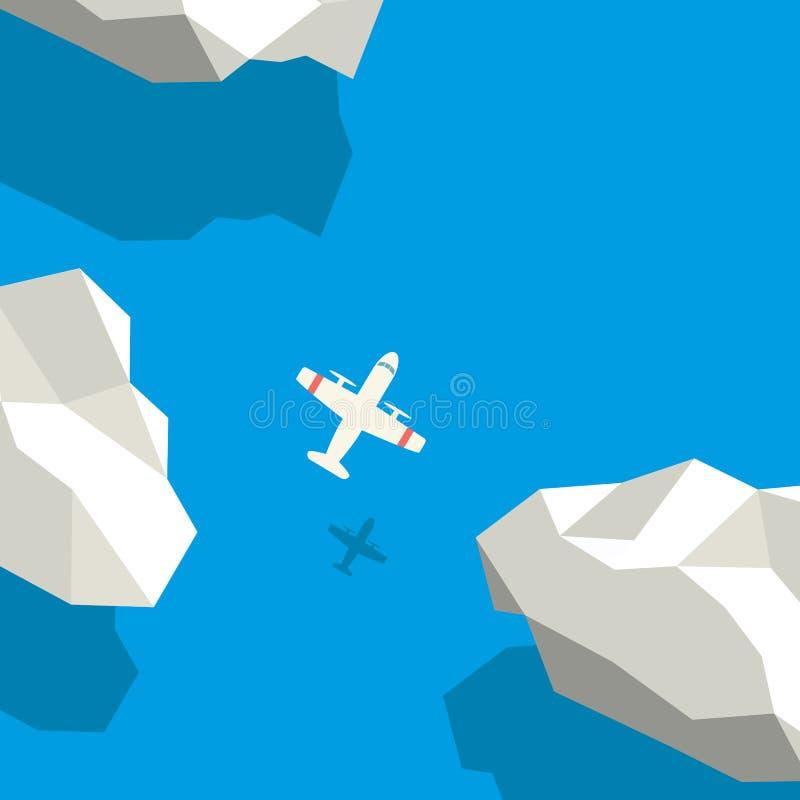 Het concept van de luchtreis met vliegtuigsymbool die boven wolken vliegen Lage veelhoekige stijl vectorachtergrond vector illustratie