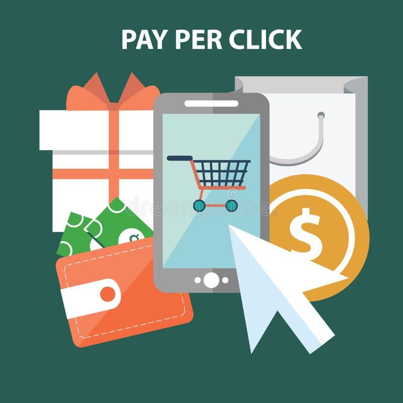 Het concept van de marketing Betaal per Klik stock illustratie