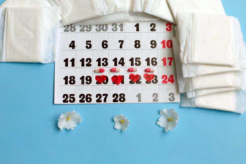 Het concept van de menstruatiecyclus Menstruatiekalender met sanitaire stootkussens, contraceptieve pillen, bloemen royalty-vrije stock fotografie
