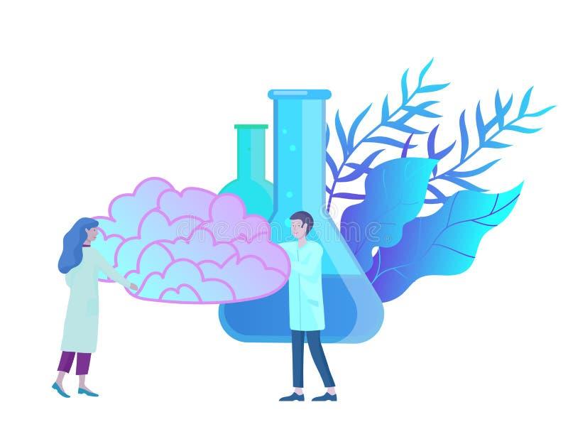 Het concept van de neurologiegenetica Vlak stijl klein mensen artsen medisch team die, construerend DNA, het onderzoeken werken stock illustratie