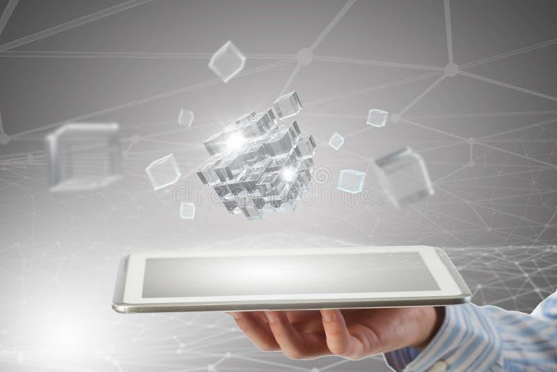 Het concept van de nieuwe technologieintegratie Gemengde media royalty-vrije stock foto