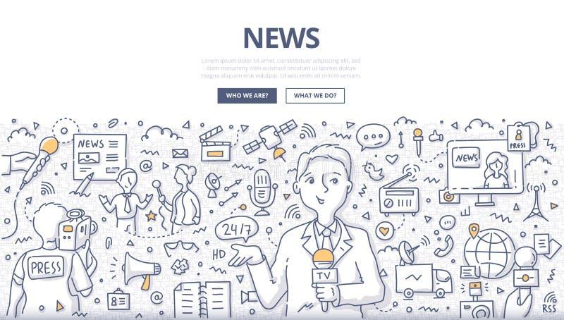 Het Concept van de nieuwskrabbel royalty-vrije illustratie