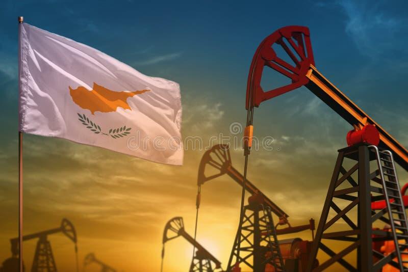 Het concept van de de olieindustrie van Cyprus Industriële illustratie - de vlag en de oliebronnen van Cyprus tegen de blauwe en  stock fotografie