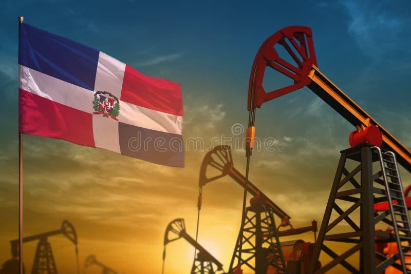 Het concept van de de olieindustrie van de Dominicaanse Republiek Industriële illustratie - de vlag en de oliebronnen van de Domi royalty-vrije illustratie