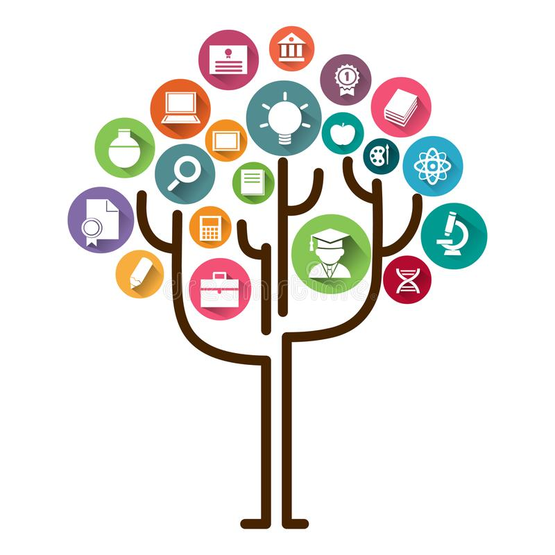 Het concept van de onderwijsboom het leren Onderwijspictogrammen en boom vectorillustratie royalty-vrije illustratie