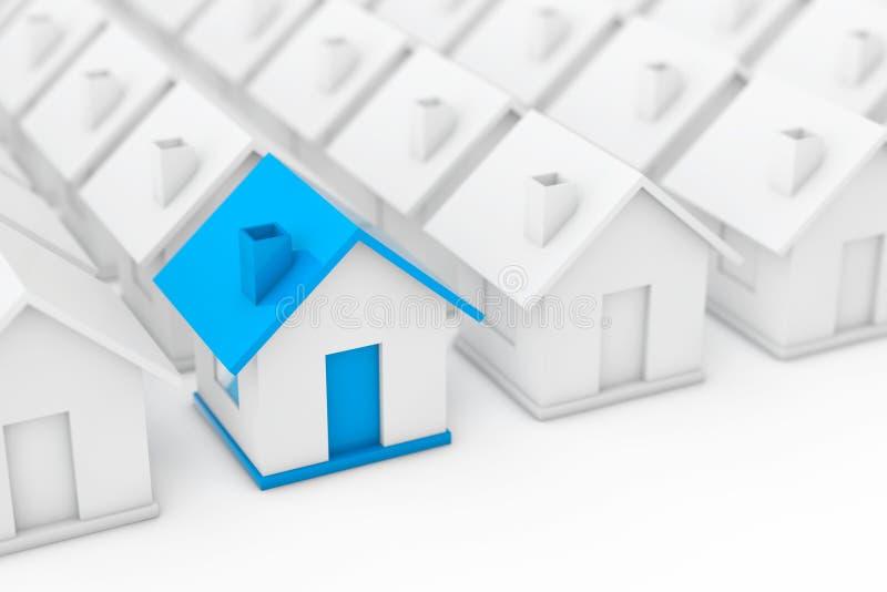 Het Concept van de onroerend goedindustrie Blauw huis binnen onder Wit stock illustratie