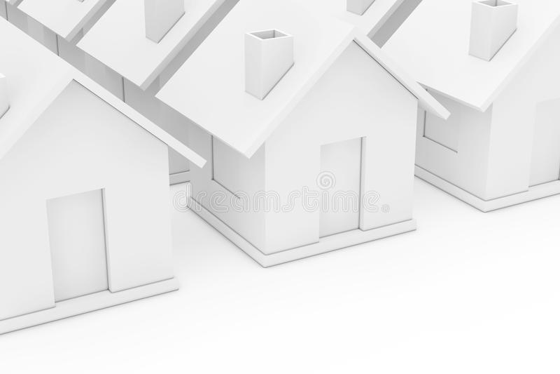Het Concept van de onroerend goedindustrie Eenvoudige Witte Huizen 3D r stock illustratie