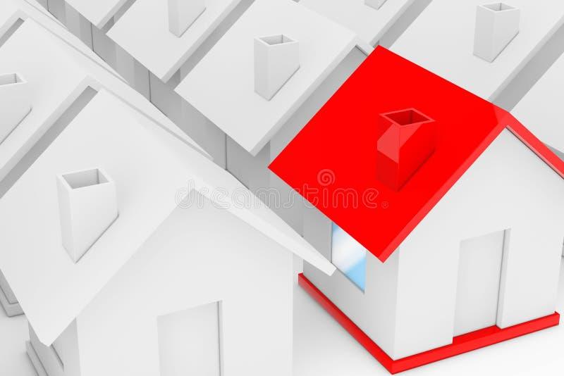 Het Concept van de onroerend goedindustrie Rood huis binnen onder Wit vector illustratie