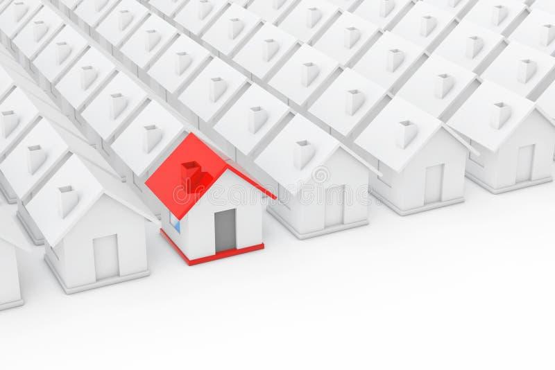 Het Concept van de onroerend goedindustrie Rood huis binnen onder Wit stock illustratie