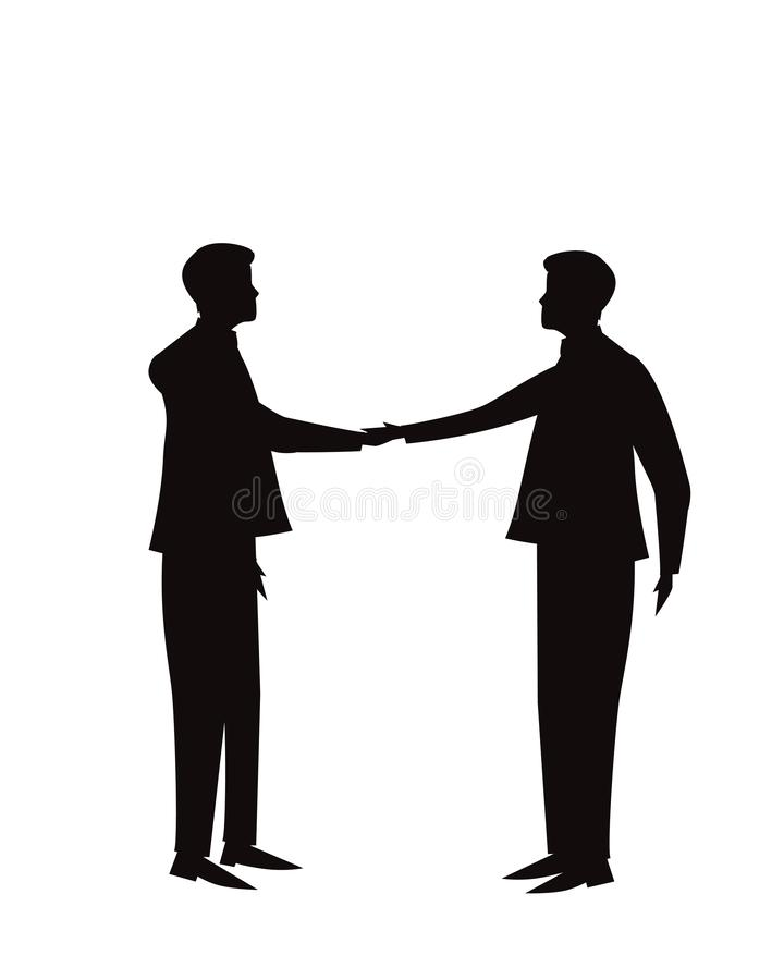 Het concept van het de overeenkomstenvennootschap van de bedrijfsgroepswerkovereenkomst Zakenlieden die handen samen schudden vector illustratie