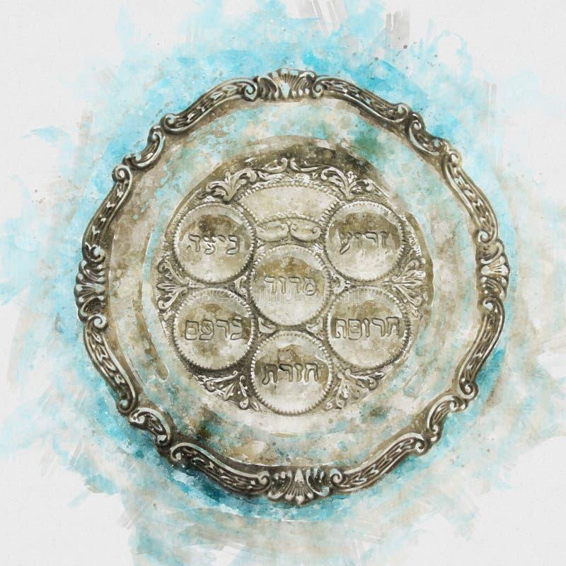 Het concept & x28 van de Pesahviering; Joodse Pascha holiday& x29; Traditionele pesahplaat royalty-vrije illustratie