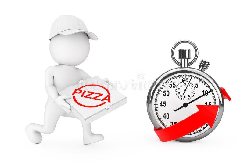 Het concept van de pizzalevering 3d Handelaar van de Karakterpizza met Pizzadoos vector illustratie