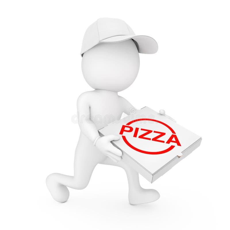 Het concept van de pizzalevering 3d Handelaar van de Karakterpizza met Pizzadoos stock illustratie