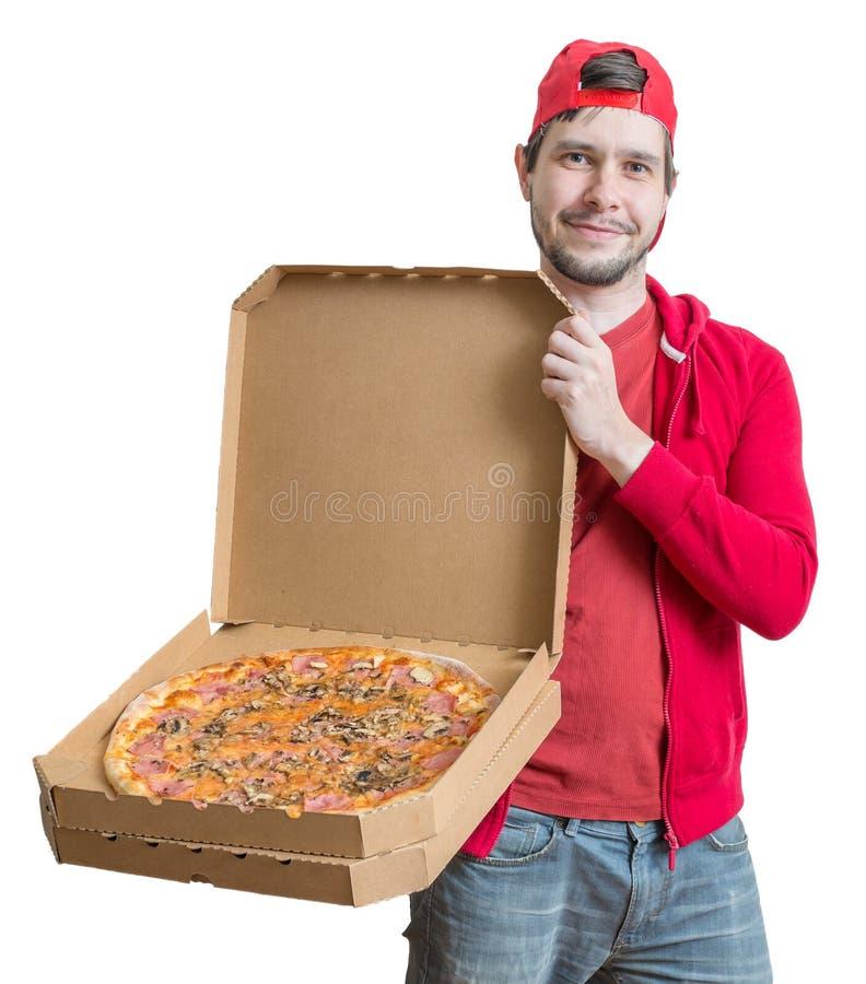 Het concept van de pizzalevering De jonge mens houdt dozen met pizza royalty-vrije stock afbeelding