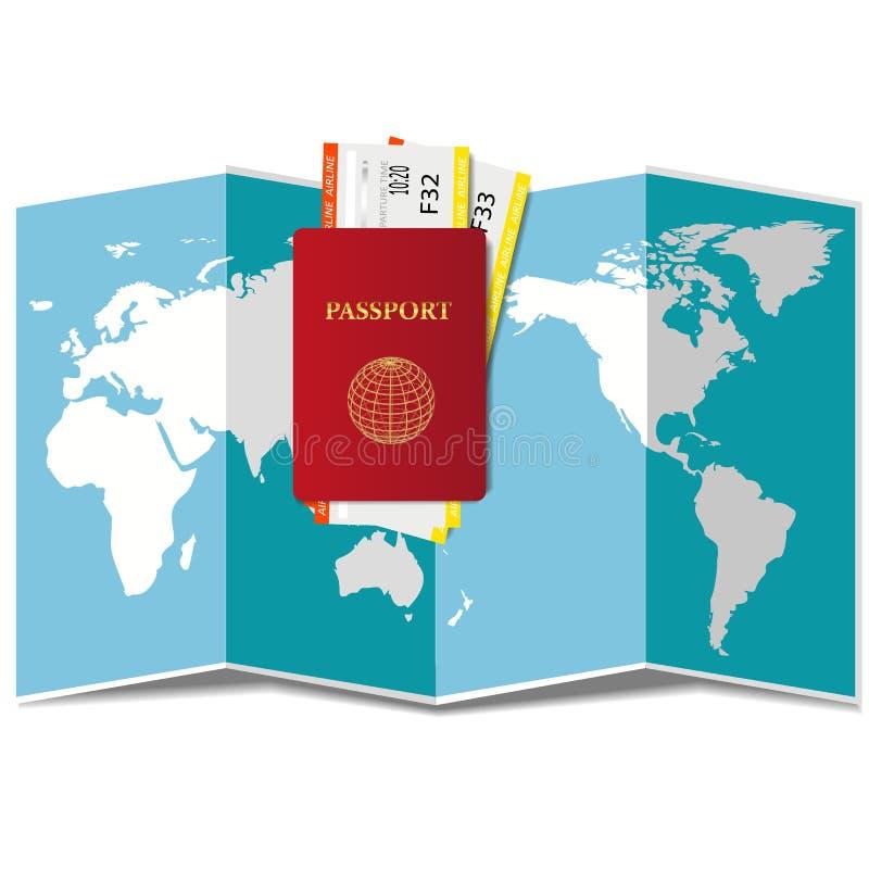 Het concept van de planningsreis rond de wereld Paspoort, vliegtuigkaartjes, en wereldkaart royalty-vrije illustratie