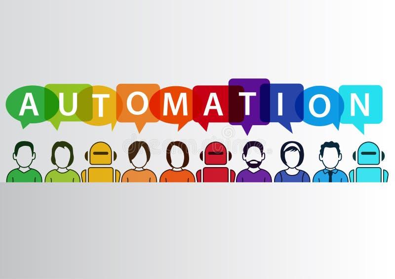 Het concept van de procesautomatisering als achtergrond Vectorillustratie van gemengde groep mensen en machines en robots royalty-vrije illustratie