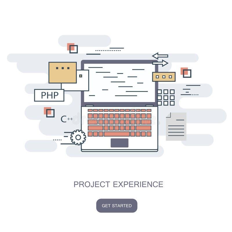 Het concept van de projectervaring Vlakke Stijl, Dunne Lijn Art Design Reeks van toepassingsontwikkeling, websitecodage, informat stock illustratie