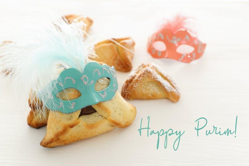 Het concept & x28 van de Purimviering; Joods Carnaval holiday& x29; Traditioneel hamantaschen koekjes royalty-vrije stock afbeelding