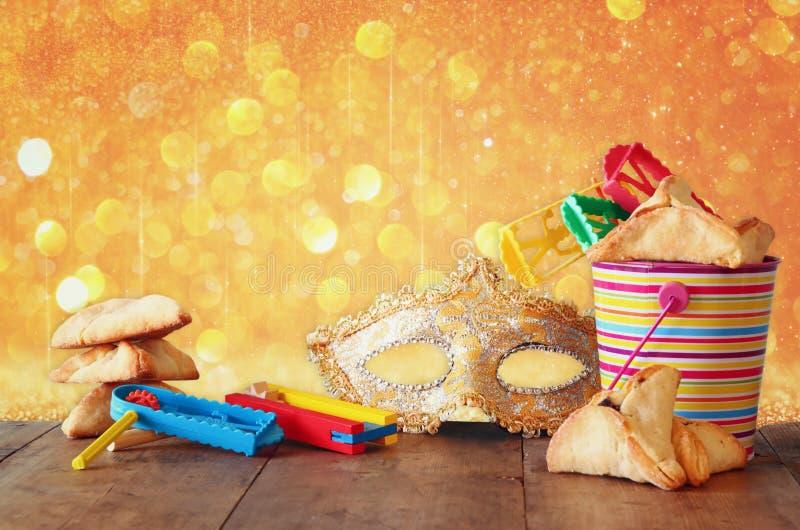 Het concept van de Purimviering (Joodse Carnaval-vakantie) Selectieve nadruk stock fotografie