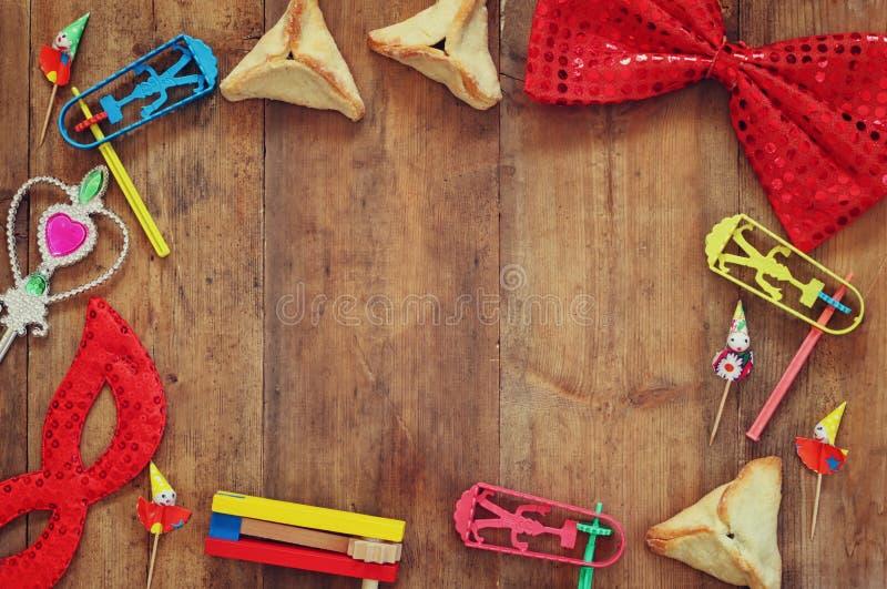 Het concept van de Purimviering (Joodse Carnaval-vakantie) Selectieve nadruk stock foto's