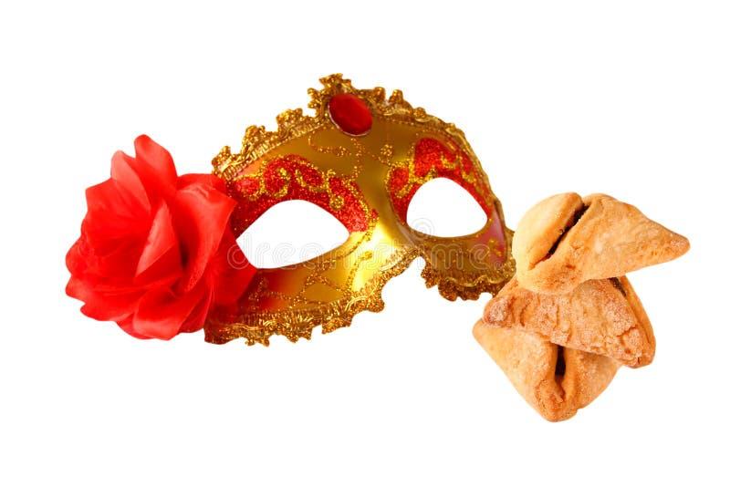 Het concept van de Purimviering (Joodse Carnaval-vakantie) Selectieve nadruk Geïsoleerd op wit stock afbeeldingen