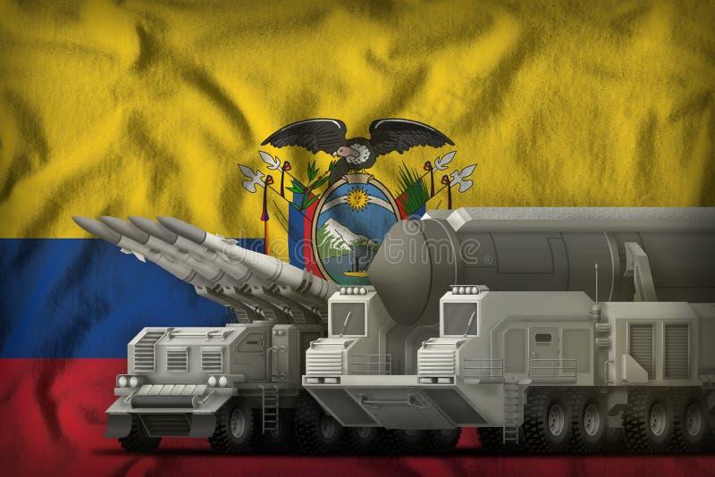 Het concept van de rakettroepen van Ecuador op de nationale vlagachtergrond 3D Illustratie royalty-vrije illustratie
