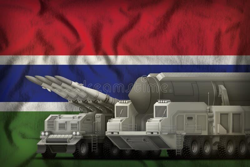 Het concept van de rakettroepen van Gambia op de nationale vlagachtergrond 3D Illustratie stock illustratie