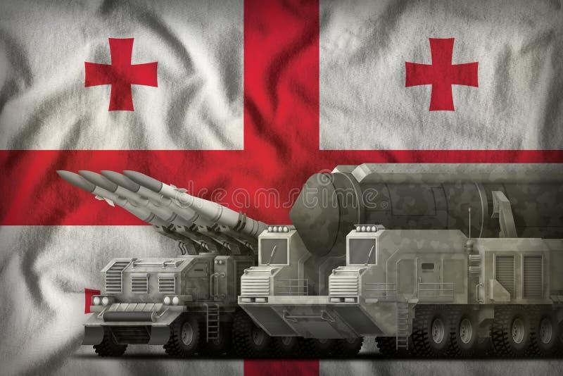 Het concept van de rakettroepen van Georgië op de nationale vlagachtergrond 3D Illustratie royalty-vrije illustratie