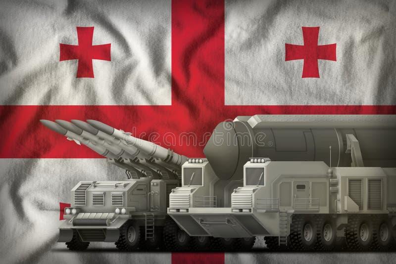 Het concept van de rakettroepen van Georgi? op de nationale vlagachtergrond 3D Illustratie royalty-vrije illustratie