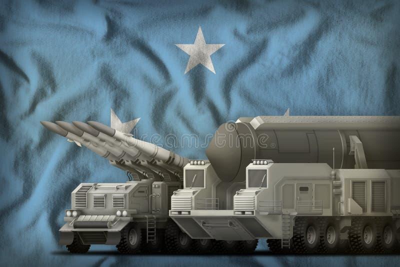 Het concept van de rakettroepen van Micronesië op de nationale vlagachtergrond 3D Illustratie stock illustratie