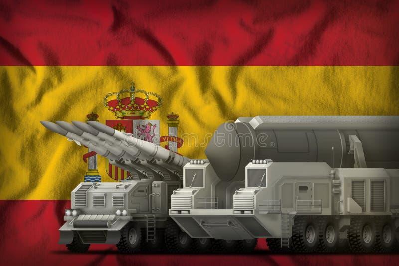 Het concept van de rakettroepen van Spanje op de nationale vlagachtergrond 3D Illustratie royalty-vrije illustratie